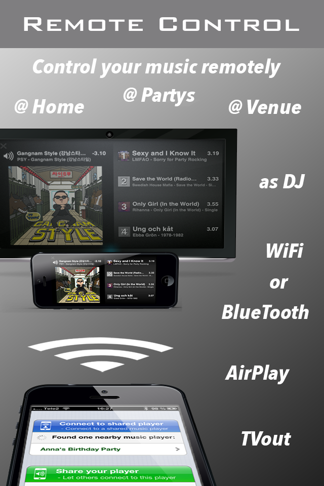 PlayMyQ HD - Music Player • Remote Control • Jukebox